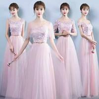 Wholesale Korean Girl New Pictures - Long pink bridesmaid dress 2017 new slim sisters dress girl Korean version plus size evening dress in winter 18--16