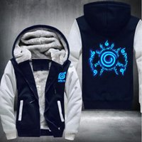Wholesale naruto sasuke jacket online - Fashion Naruto Hoodie Anime Sasuke Cosplay Naruto Jacket Thicken Zipper Luminous Sweatshirts Winter Men s Keep warm Sweatshirts selling