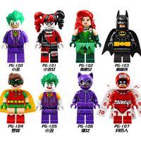 Wholesale Poison Ivy - Super Heroes Joker Batman Catwoman Robin Poison Ivy Calendar of people Harley Quinn Building Blocks Toys Kids Bricks
