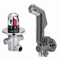 Wholesale Mixing Valve Shower - Free shipping Thermostatic bidet Mixing Valve Staianless Steel Bidet Sprayer Shower Set Spray shower Douche kit Temperature bidet set Bd1220
