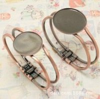 Wholesale Antiqued Chain Wholesale - antiqued Copper plated Bangle Bracelet Setting Fit 25 30mm Cabochon Cameo High Quality Braclet Blank Tray Bezel DIY Fashion Bracelet Finding