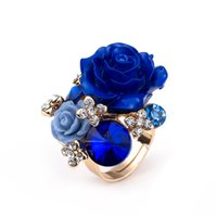 Wholesale Cheap Rose Gold Rings - Wholesale-2016 New Arrival Cheap Big Crystal Rose Flower Adjustable Women Wedding Party Gold Plated Jewelry Finger Rings Bijoux homme