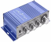 entradas de reproductor de dvd al por mayor-HY2002 HY-2002 Entrada de CD DVD MP3 para Motocicleta Reproductor de Audio de Color Azul Hi-Fi 12 V Mini Auto Estéreo Auto Amplificador de Potencia 2 Canales de Audio