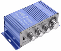 Wholesale Power Amplifiers For Car - HY2002 HY-2002 CD DVD MP3 Input for Motorcycle Blue Color Audio Player Hi-Fi 12V Mini Auto Car Stereo Power Amplifier 2 Channel Audio