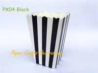 Wholesale Black Snacks - Wholesale- 12pcs lot Mini Black Striped Party Popcorn Boxes Bags Snack Favor Boxes Movie Night Wedding Birthday Outdoor Party Supplies
