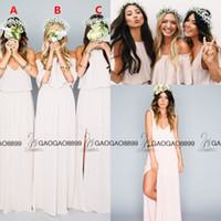 Wholesale Elegant Cream Dresses - Chic Elegant Chiffon Split Boho Beach Mumu Bridesmaid Dresses in Cream 2016 Custom Make Full length Cheap Maid Of Honor Dress