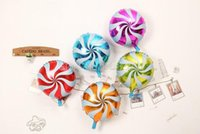1 PZ 18 pollici Round Lollipop Peppermint Candy Swirl Mulino a vento Foil Balloons Birthday Party Decoration 5 colori