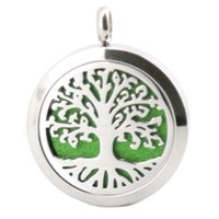 Wholesale Circle Life Tree - 1pcs Tree of Life Aromatherapy Essential Oil surgical Stainless Steel Perfume Diffuser Pendant Locket Necklace with chain and felt pads