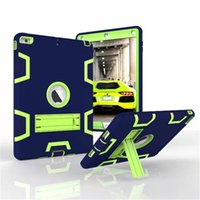 Heavy Duty Rugged Drop Resistance 3-IN-1 Armor Shockproof Silicone Kickstand Case Cover For Ipad 5 6 air mini 1 2 3 4 10.5 9.7 LG G Pad 2 3
