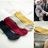 bebek kızları dantel çorapları toptan satış-Bebek Pamuk Çorap Anti-sivrisinek Yenidoğan Kız Erkek Örgü Nefes Dantel Üst Diz Yüksek Stocking Renkli 0-1 T