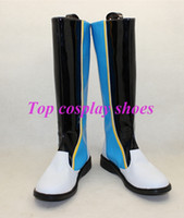 Wholesale Vocaloid Shoes - Wholesale-Vocaloid Kaito Blue & White & Black PU Cosplay Boots shoes long boots #TS053 Custom made