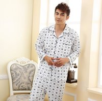 Wholesale Xxl Pajamas Men - Pajamas Men Spring and Autumn Sweat Long Sleeve Cotton Pajamas XXL XXXL