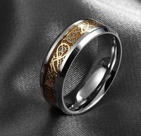 Wholesale Engagement Rings Mens 18k - fashion valentine's day Fine jewelry Dragon 316L stainless steel Ring high quality Mens Jewelry Wedding Band male ring for lovers