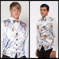 Wholesale Tuxedo Prom Single Button - 2017 Hot Realtree Camo Mens Vest with Four Buttons Snowfall White Camo Formal Tuxedo Prom Vest for Man Custom Made