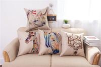 ingrosso zebra print throw pillows-Fodera per Cuscino Stampa Animale Fodera per Rinoceronte Colorato Federe Cuscino per Testa di Renna Zebra Giraffa Fodera per Cuscino Copre Quadrato 45 CM