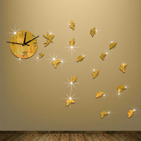 Wholesale Art Wall Round Clock - 2016 New Specials Black Rounds With Clock 3d Crystal Mirror Wall Clocks 3d Butterflies Home Decoration Modern Style Wall Art