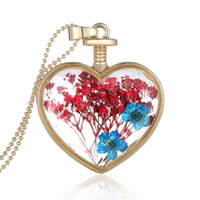 Sided Crystal Glass Locket Pingente Colar Colorful Dried Flower Specimens Colar Herbarium Ture Flower em forma de coração Jóias Luxury Gifts