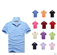 Wholesale Turndown Collar - New Arrive solid Turndown collar Brand 2016 Shirt Men Short Sleeve Casual Shirts Man's Shirt Plus size 6XL Polo20color #930