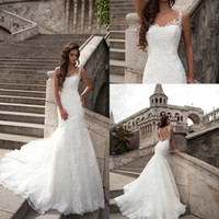 Wholesale Girls Church Dresses - Milla Nova 2018 Lace Mermaid Wedding Dresses Formal Girls Spaghetti Straps Chapel Train Church Trumpet Bridal Dress Gowns Custom Made