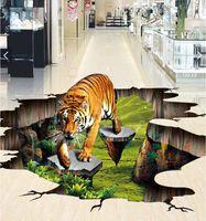 Wholesale tigers stickers - 3d pvc flooring custom photo Waterproof floor wall sticker The tiger home decor living room painting 3d wall murals wallpaper