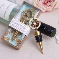 50Pcs Livraison gratuite Bronze Guide Compass Avec Box World Map Gift Wine Opener Favors Favors anniversaire Vintage Wedding Party