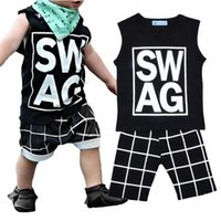 Unisex Summer Cotton + Polyester Wholesale 2017 Summer Baby Boy Clothing Sets Letter Plaid Printed Kids Clothes SWAG T-shirts+Harem Shorts Boys 2pcs Set Children Clothing