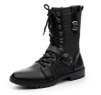 Wholesale Men Punk Boots Buckle - Fashion Men's Winter Mid-Calf Boots,Black Punk Leather Side Zipper Lace-Up Shoes,Martin Cowboy Combat Army Boots,US Size 6.5-10