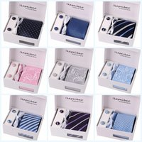 Wholesale Tie Clip Cufflinks Box - Wedding mens neck tie set with tie clip and cufflinks & kerchief 1 set per lot Multicolor,Stripes,Floral,Plaid,for choice packed by gift box