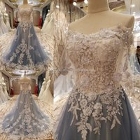 Wholesale Colorful Embroidered Wedding Dresses - blue and white wedding dresses 2017 A-line embroidered lace appliques beaded off the shoulders real photos wedding gowns