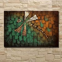 Wholesale Cheap Quality Knives - Dragon fly animal picture without frame hand painted knife oil painting in high quality large canvas art cheap