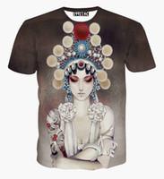 kaliteli giyim çini toptan satış-Yüksek Kaliteli Çin Tarzı kadın T-shirt 3d yaz üstleri baskılı Pekin opera aktör Casual tişörtlü kısa kollu tees giyim