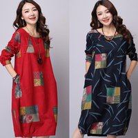 Wholesale Casual Dress One Size - Women dress Winter Dress Plus Size Women Clothing Loose Vintage Dress Long Sleeve Dress Patchwork Casual Dress Linen Maxi Dress One Piece
