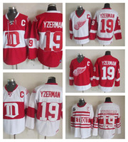 ingrosso ali delle maglie-Mens Vintage Detroit Red Wings # 19 Steve Yzerman Hockey Maglie Home Rosso Vintage Inverno Classic Rosso Bianco Steve Yzerman Jersey C Patch