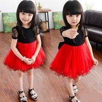 Wholesale Girls Patching Dress - 2016 Summer Children Girls Short Sleeve Lace Dresses Kids Black White Patched Veil Fancy Tutu Girls Dresses Big Bow Back Design B4091