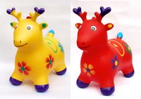 Wholesale Toy Horses Wholesale - Children's inflatable toys jumping Maccabees thick increase environmental jumping horse jumping deer inflatable horse music baby toys