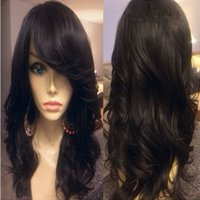 Wholesale Long Chinese Bang Wigs - 7A Grade Malaysian Body Wave Full Lace Human Hair Wigs with Side Bangs   Glueless Full Lace Wigs Human Hair For Black Women