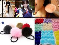 "Wholesale Orange Ponytails - 50pcs Korean Artificial Rabbit Fur 2"" Ball Elastic Hair Band Ponytail Holder Girls Headband hair rope ring hairband Hair Accessories Gift"