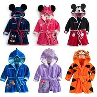 Wholesale Coral Fleece Bathrobe Wholesale - Children Cartoon bathrobe Minnie Mickey Mouse Coral fleece Kids Bathrobe robes Baby toweling robe Boy Girls Kids Pajamas B0815