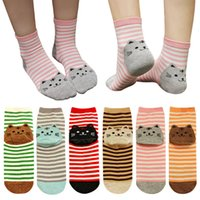 Wholesale Korean Red Tube - Fall and winter Korean version of Cartoons socks female Ms. cotton socks in tube socks wholesale and retail kitty interesting