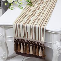 Chenille Length 200cm Multi Tassel Length Stripe Table Runner High End  Chenille Fabric Dining Tea Table