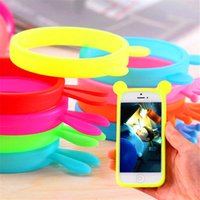 Wholesale Universal Bumper Frame Soft Silicone Bracelet Ring Case Rabbit Butterfly Bumper For iphone s se s plus inch phone