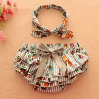 Wholesale Pp Skirt Headband - 15% off! Fashion Baby Girls 100%cotton Ruffle 6pcs(3pcs PP Shorts Pants+3pcs headband) Baby Kids Bowknot Bloomers Diaper Cover Skirt 8 style