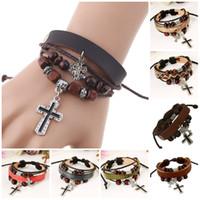 Wholesale Cheap Men Bracelets Crosses - Multilayer Bracelet Bangle Jewelry Cheap Wholesale Fashion Cute Charm Infinity Leather Wrap Bracelet Women Men Leather Jesus Cross bracelet