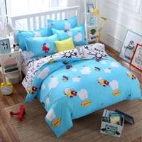 hojas de diseño de animales al por mayor-Novedad Pilot Design Blue Bedding set 3 / 4pcs Animal Pattern Funda nórdica Conjunto Sábanas Funda de Almohada Textiles para el Hogar Niñas Regalo de los niños