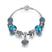 Wholesale Brilliant Love - European Pandora Style Charm Bracelets with Essence Blue Beads & Bells & Brilliant CZ & Mother & Son Heart Dangles Mother's Day Gift BL154