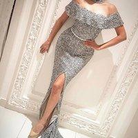 ingrosso vestito di promenade del fodero del sequin-Sexy Off The Shoulder Silver Paillettes Prom Dresses Nuovo arrivo Shiny Abiti da sera guaina anteriore fessura abiti da festa BA7006