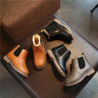 botas de invierno de cuero marrón para niñas al por mayor-Comercio al por mayor 2017 nueva moda gruesa caliente invierno botas de nieve de tobillo de cuero corto zapatos niños niñas niño 21-30 # negro gris marrón