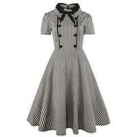 Wholesale polka dot swing - Elegant Women Peter pan Collar with Bow Short Sleeve Plaid Dress A-Line Midi Length Vintage Swing Dress Vestidos