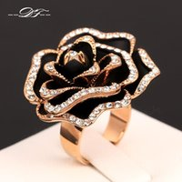 2015 New Exagerados Rose Vintage Party Anéis 18K Gold Plated o CZ Diamond Rock The Finger Ring Wedding Jewelry For Women DFR329