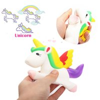 Wholesale Plastic Packaging Straps - Squishy Unicorn 13cm Slow Rising Kawaii Cute Phone Straps Pendant Retail Packaging Bread Cake Cream Scented Kids Toy Gift Item